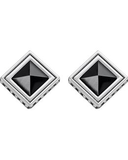 Africa Black Sterling Silver And Onyx Earrings