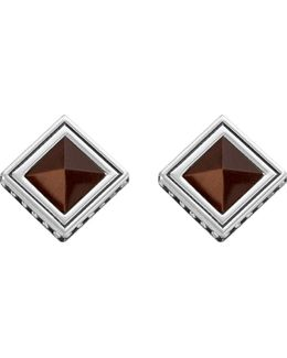 Africa Brown Sterling Silver And Tiger's Eye Earrings