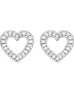 Heart Sterling Silver And Zirconia Earrings
