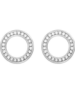 Circle Sterling Silver And Zirconia Earrings