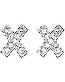 X Ear Sterling Silver And Zirconia Earrings
