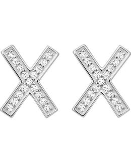 X Sterling Silver And Zirconia Earrings Large