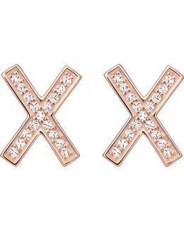 X 18ct Rose Gold-plated Sterling Silver Zirconia Earrings Large