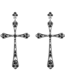 Royalty Cross Sterling Silver And Zirconia Earrings