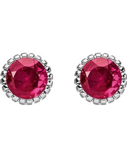 Glam & Soul Red Stone Sterling Silver Ear Studs