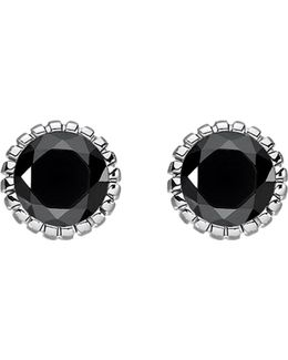 Glam & Soul Black Stone Sterling Silver Ear Studs