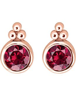 Royalty Red Stone 18k Rose-gold Plated Sterling Silver Ear Studs