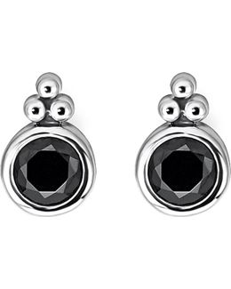 Royalty Black Stone Sterling Silver Ear Studs