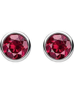 Classic Red Stone Sterling Silver Ear Studs