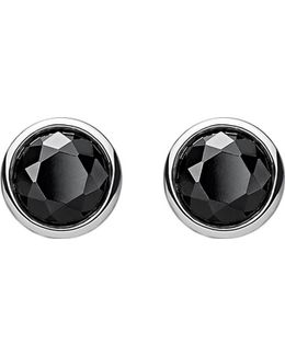 Classic Black Stone Sterling Silver Ear Studs
