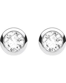 Classic White Zirconia Stone Sterling Silver Ear Studs