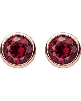 Classic Red Sterling Silver And 18k Rose-gold Plated Ear Studs