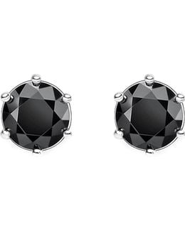 Glam And Soul Black Stone Sterling Silver Earrings