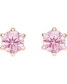 Glam And Soul White Stone Sterling Silver And 18k Rose-gold Plated Earrings