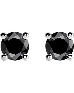 Glam And Soul Black Stone Large Sterling Silver Earrings