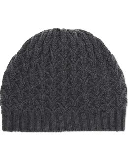 Textured Ribbed Cashmere Beanie
