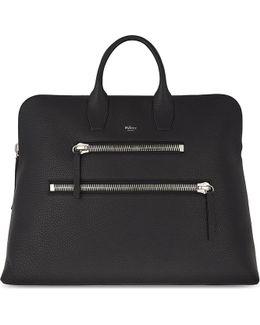 Ladies Elegant Black Leather Zip Holdall Bag
