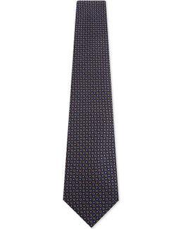 Geometric Floral Squares Silk Tie