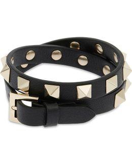 Rockstud Leather Double Bracelet