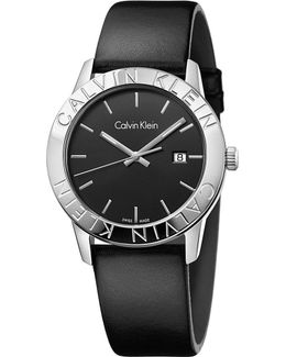 K7q211c1 Steady Stainless Steel And Leather Watch