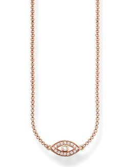 Fatima's Garden Nazar's Eye 18ct Rose-gold Plated Sterling Silver And Pavé Zirconia Necklace