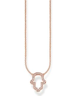 Fatima's Garden Hand Of Fatima 18ct Rose-gold Plated Sterling Silver And Pavé Zirconia Necklace