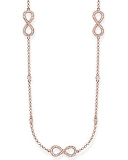Rose Gold Infinity Station Necklace