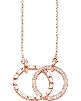 Together 18ct Rose Gold-plated Sterling Silver And Crystal Necklace