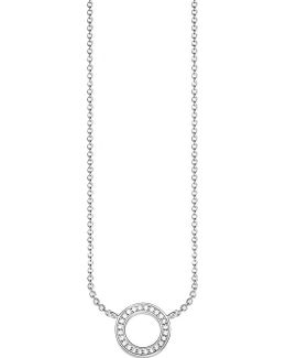 Classic Circle Small Sterling Silver And Zirconia Necklace
