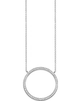 Classic Circle Large Sterling Silver And Zirconia Necklace