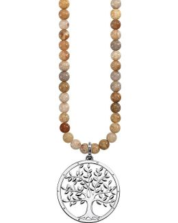 Tree Of Love 18ct Rose Gold-plated Sterling Silver And Jasper Necklace