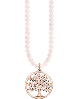 Tree Of Love Sterling Silver And Rose Quartz Necklace