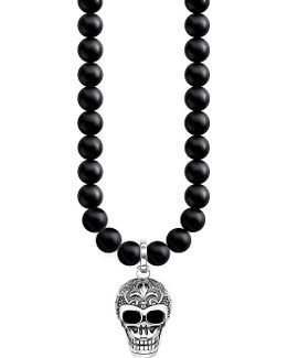 Rebel At Heart Skull Sterling Silver And Obsidian Necklace