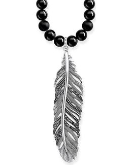 Rebel At Heart Feather Sterling Silver Obsidian And Crystal Necklace