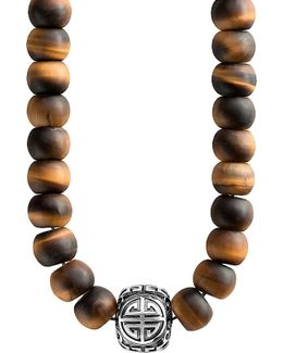 Rebel At Heart Mala Power Sterling Silver And Tiger's Eye Bead Necklace