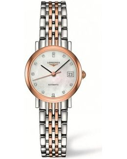Elegant L4.309.5.87.7 Stainless Steel, Rose Gold And Diamond Watch