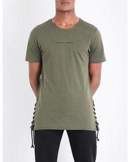 Lace-up Cotton-jersey T-shirt