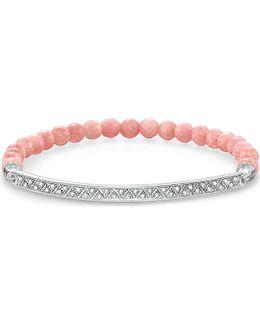 Love Bridge Bamboo Coral Pavé Zirconia Sterling Silver Bridge Bracelet