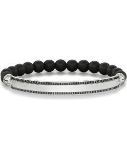 Love Bridge Black Obsidian And Silver Bracelet