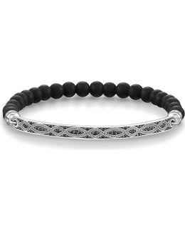 Love Bridge Sterling Silver And Black Zirconia Bracelet