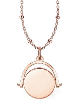 18ct Rose Gold Spinning Coin Engravable Necklace