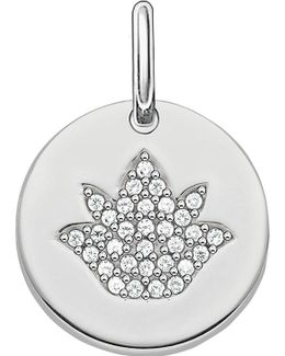 Love Coin Sterling Silver Engravable Lotus Pendant