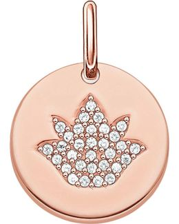 Love Coin Rose Gold-plated Sterling Silver Engravable Lotus Pendant