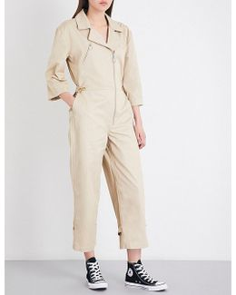 Cropped High-rise Cotton-twill Jumpsuit