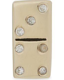 Domino Gold-toned Sterling Silver Single Stud Earring