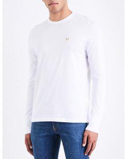 Metallic Logo-detail Cotton-jersey T-shirt