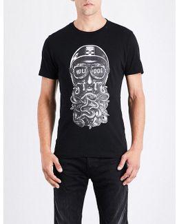 Biker-print Cotton-jersey T-shirt
