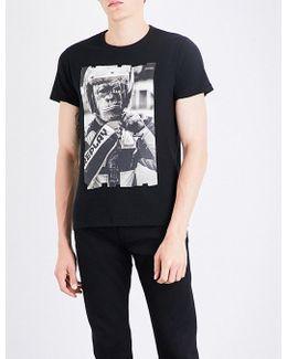 Monkey Biker-print Cotton-jersey T-shirt