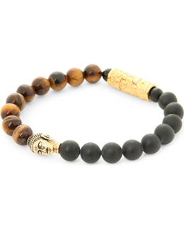 18ct Gold Buddha Beaded Bracelet