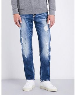 Mens Distressed Iconic Geno Relaxed Slim-fit Straight-leg Jeans